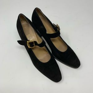 Authentic Gucci Black Suede Mary Jane Heels